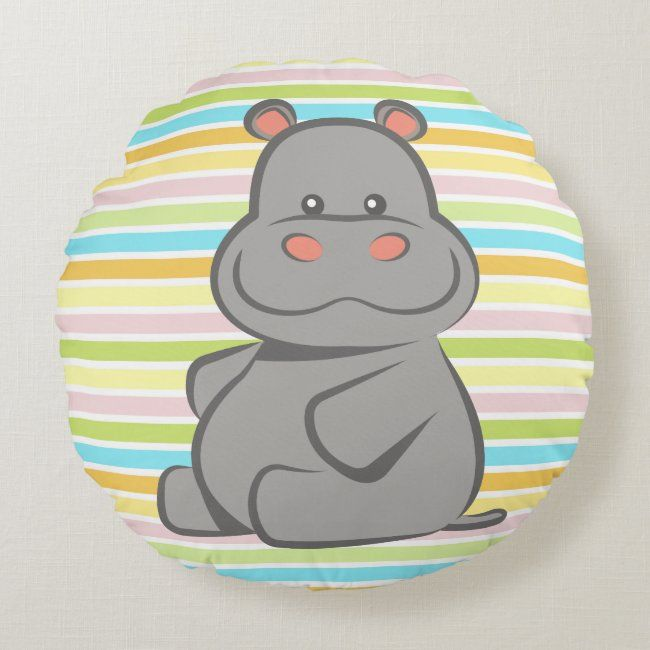 Baby Hippo Round Pillow | Zazzle.com