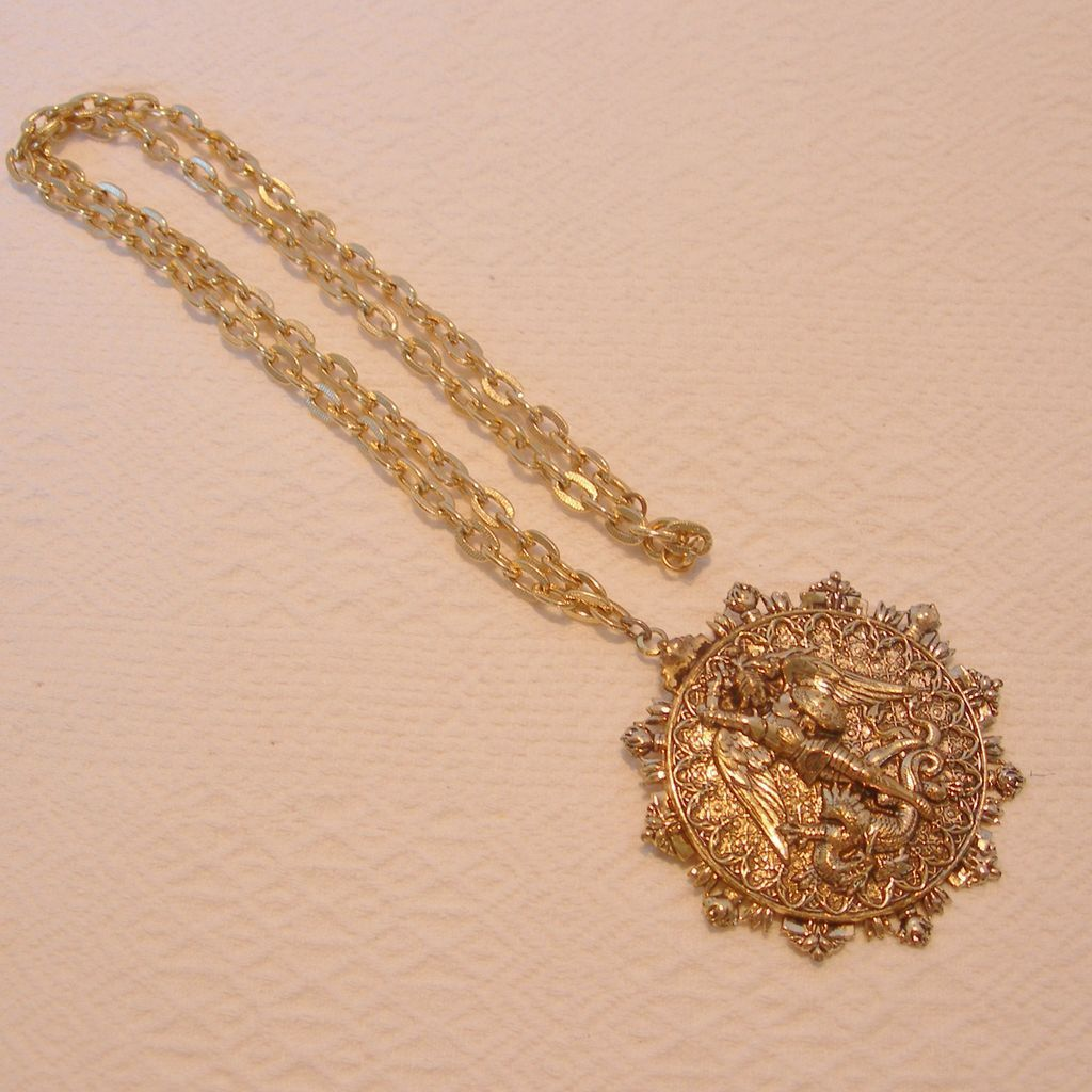 vintage medal george dragon pendant fob st lane sold charm ruby french item