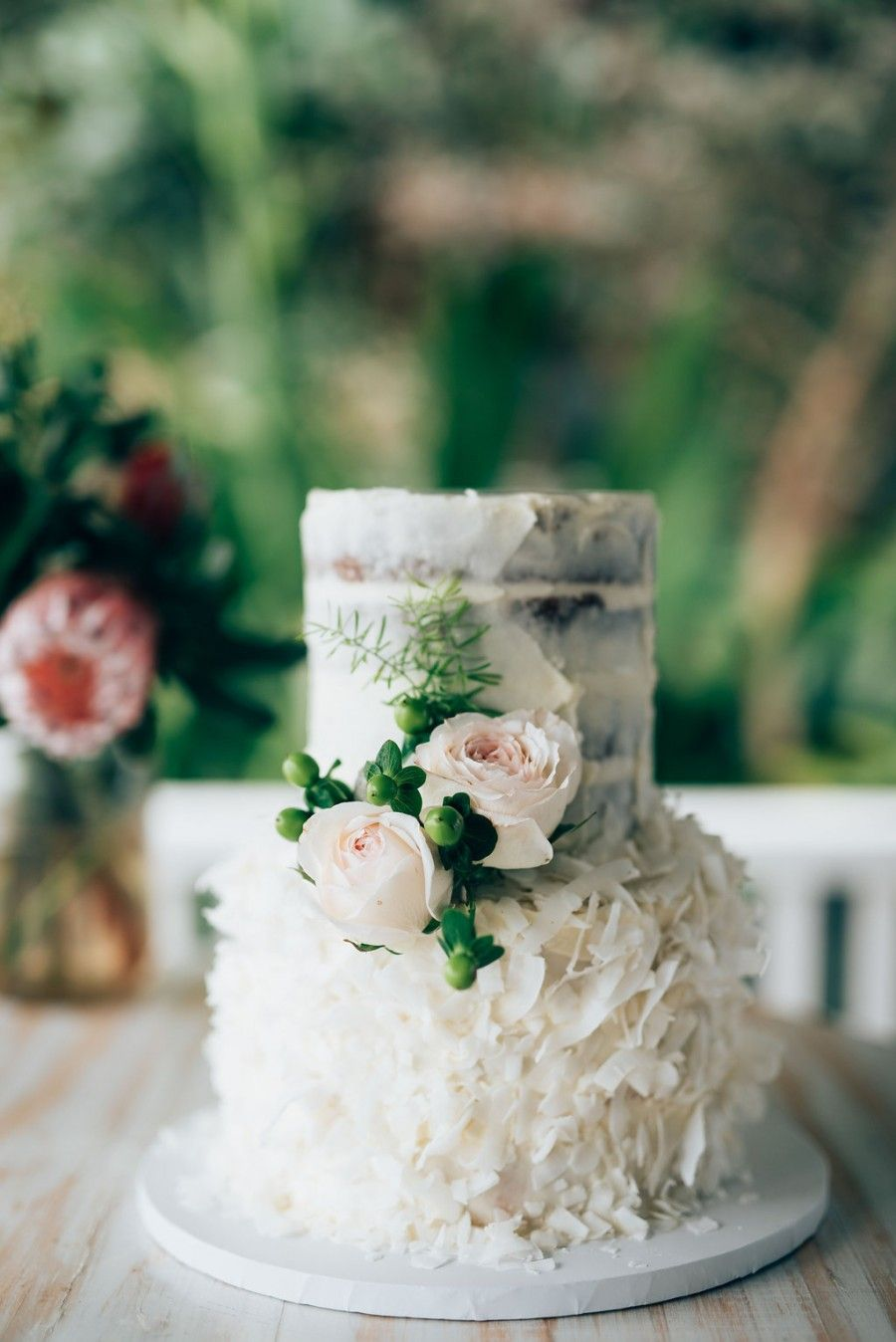 Leah   Jim s Byron View Farm Wedding   Florals Nadine Continued     coconut wedding cake  1st tier coconut   lime mud with white chocolate  ganache   2nd tier sticky date mud with salted caramel ganache