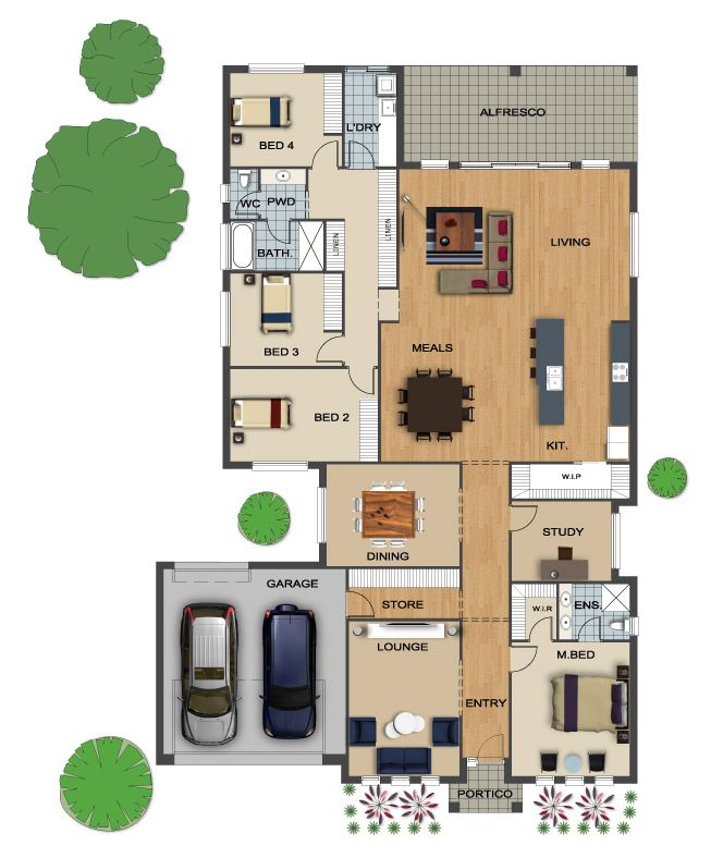 House Floor Plan Contemporary Design With Drive Through Garage Circle Drive Floor Plans Dream Home Design House Floor Plans