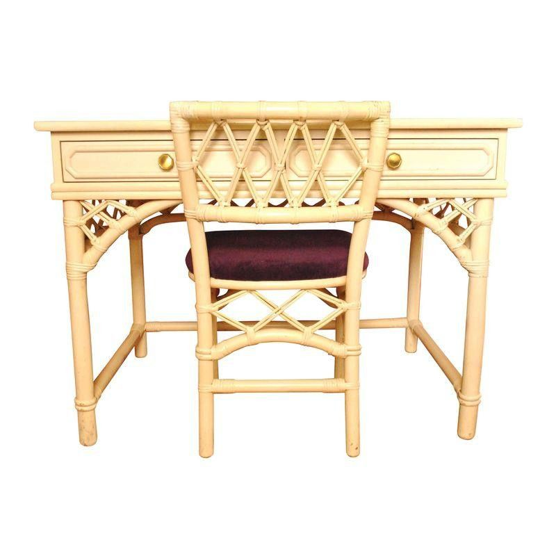 Ficks Reed Faux Bamboo Desk And Chair   $1,200 Est. Retail   $400 On  Chairish