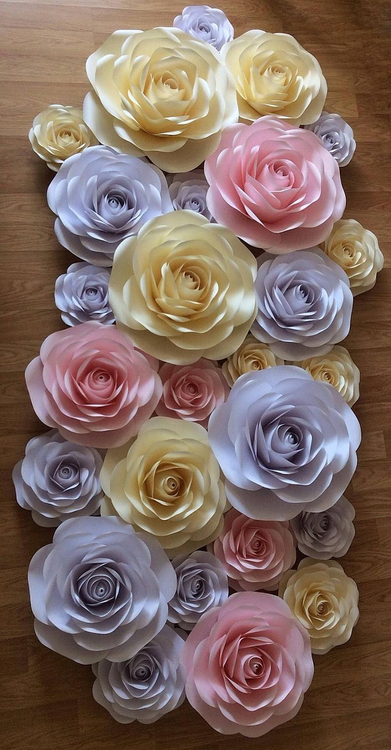 Paper Flowers-Wedding Decor-Set Paper Flowers-Large Paper Flowers-Nursery decor-Giant Paper Flowers-Large paper roses-Wall Decor-Backdrop #largepaperflowers