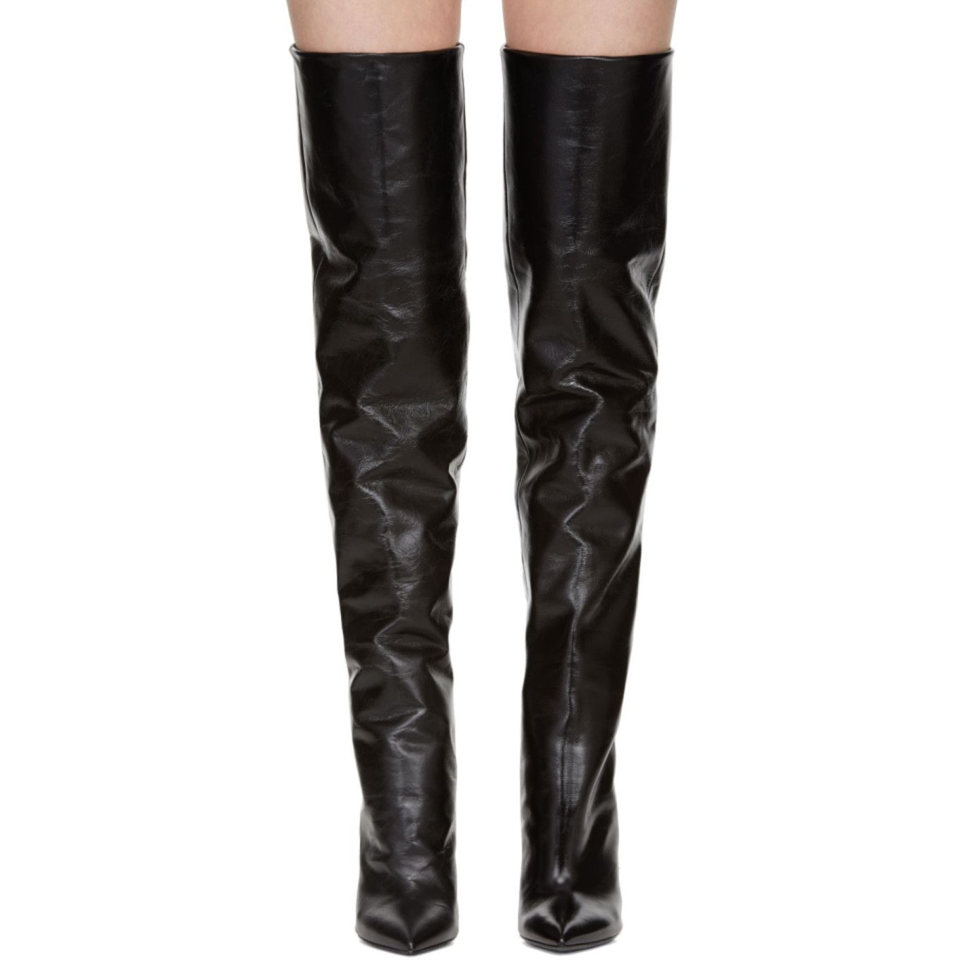 over the knee boots and leather leggings | Pantaloni di