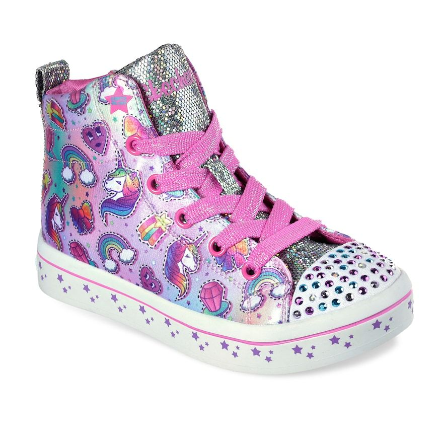 74b5e2804135 Skechers Twinkle Toes Shuffles Twi-Lites Girls' Light Up High Top Shoes,  Blue