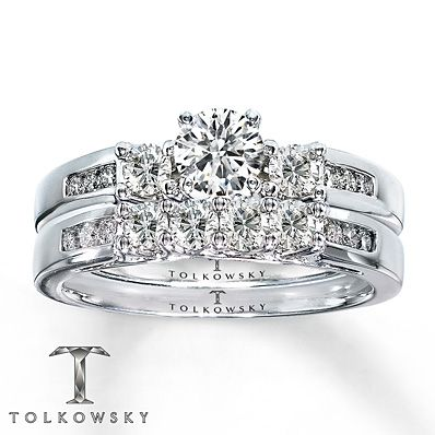 Tolkowsky Bridal Set 1 Ct Tw Diamonds 14k White Gold Unique Engagement Rings Rose Gold Wedding Ring Sets Bridal Jewelry Sets