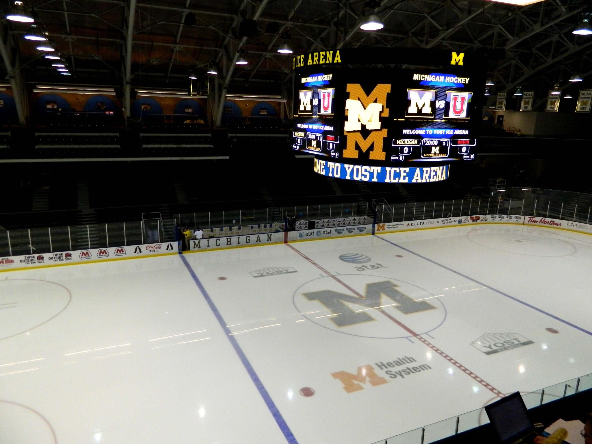 A Media View Of Yost Ice Arena Home Of Michigan Hockey Ann Arbor Mi Michigan Hockey Michigan M Go Blue