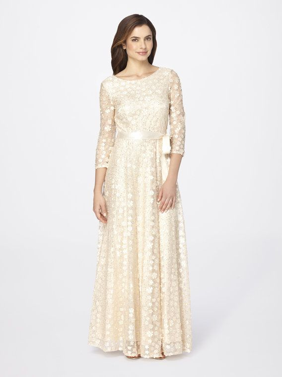Check Out Satin Embroidered Mesh Ball Gown From Tahari Asl