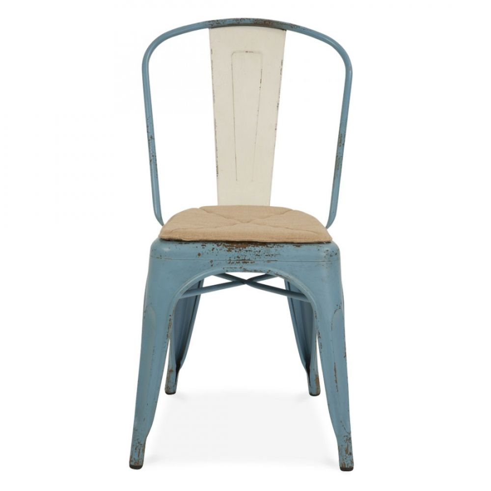 Xavier Pauchard Chaise Style Tolix Bleu Vintage Realiste