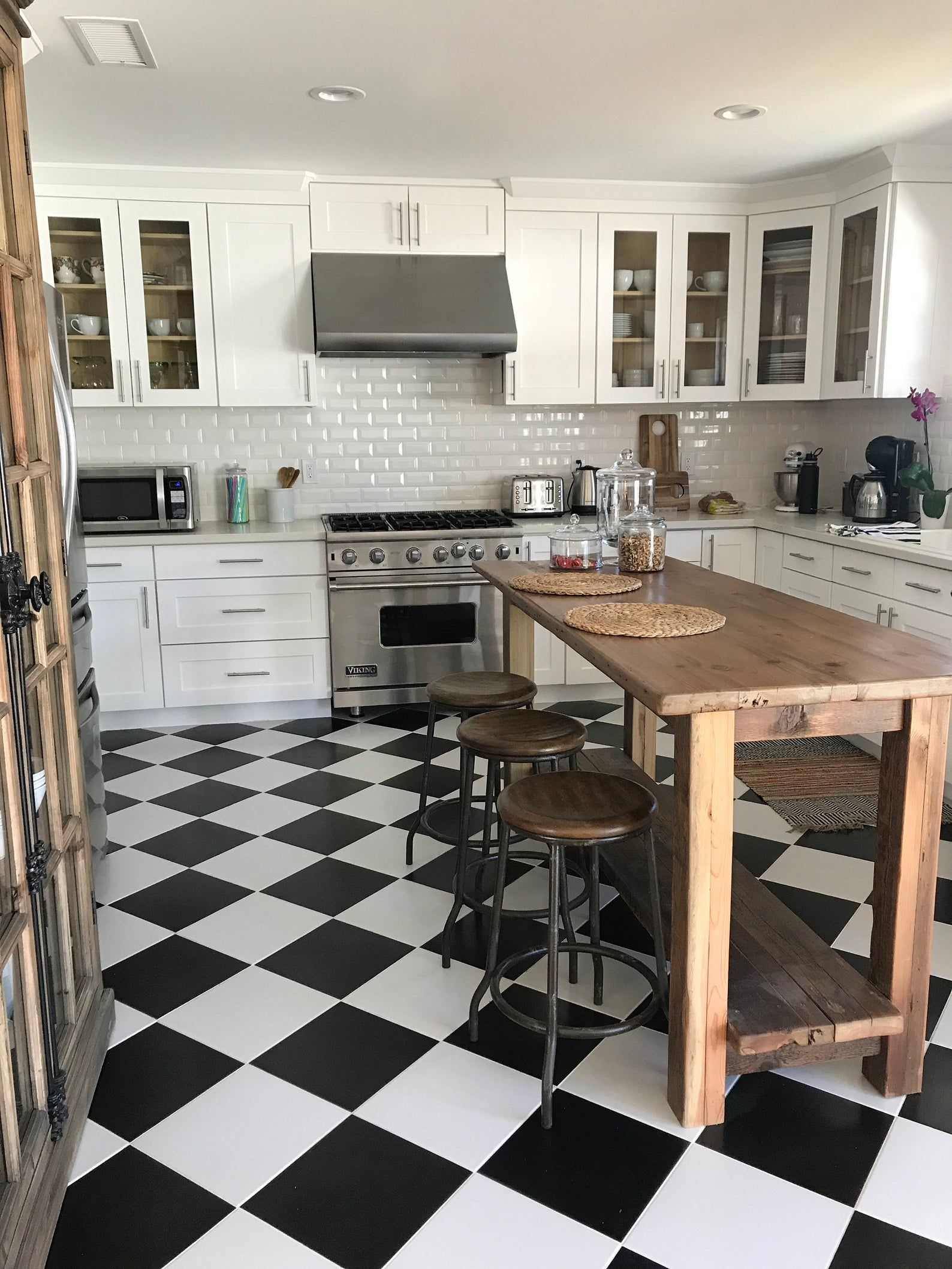 Rustic Kitchen Island Made From Reclaimed Pine Barnwood