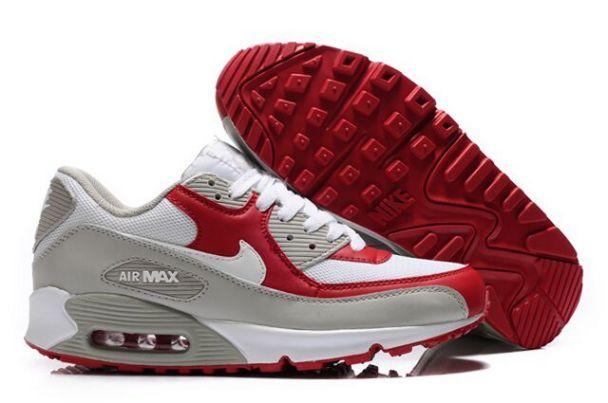 Nike Air Max 90 Women's Running Shoes WhiteVarsity Red Grey