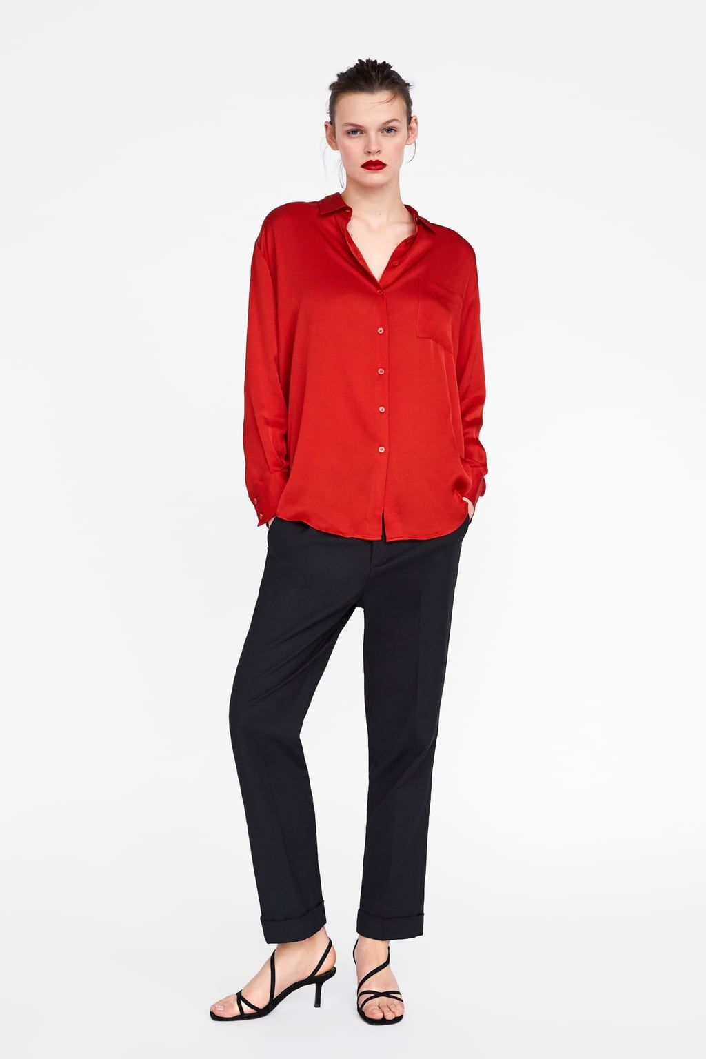 f7160cda870a8a Image 1 of SATIN-FINISH BLOUSE WITH POCKET from Zara ...