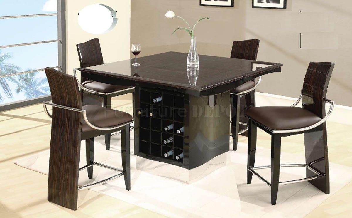 Bar Dining Room Table Wenge Zebrano High Gloss Finish Modern Bar Table Wwine Rack