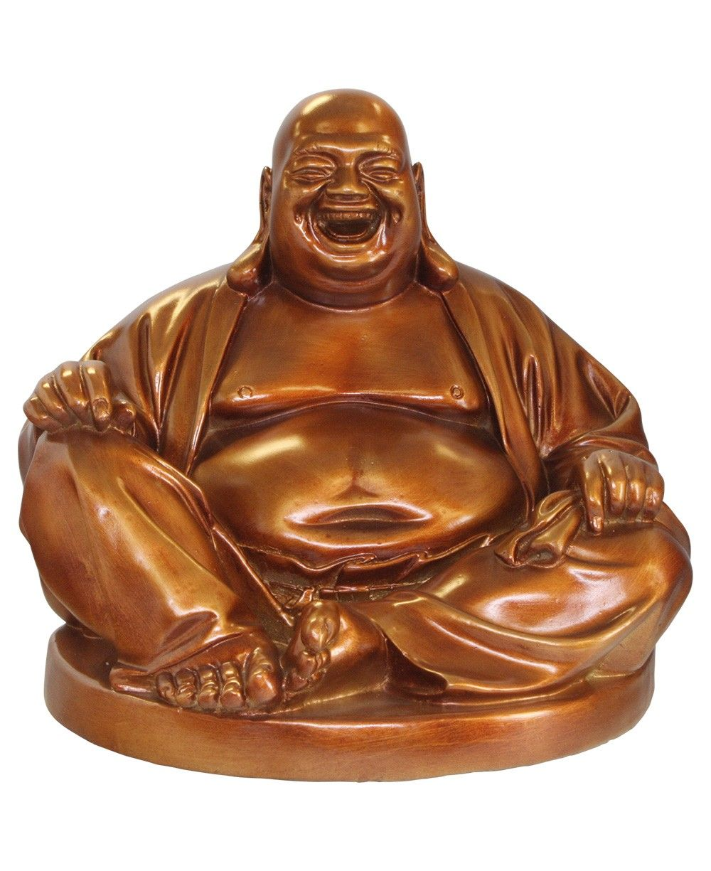 Bronze finish Happy Buddha statue made in Vietnam, available at BuddhaGroove.com.