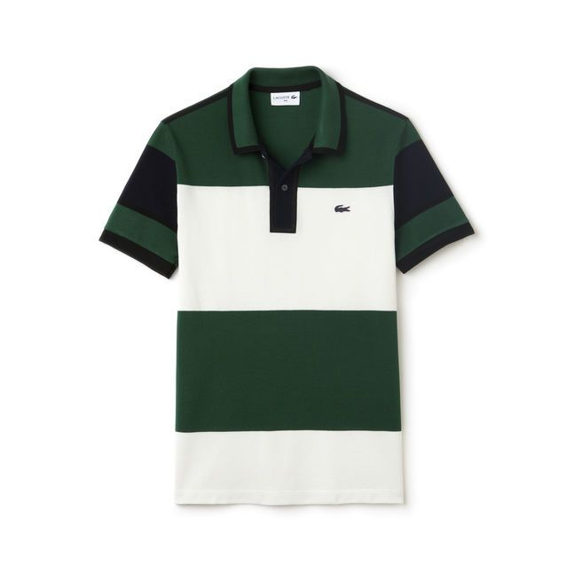133c477cb8 Polo Lacoste regular fit Edition Made in France en petit piqué rayé ...