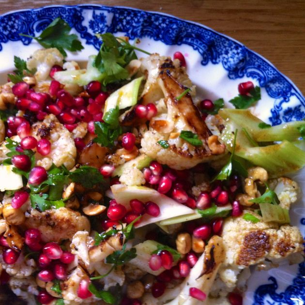 roasted cauliflower and hazlenut salad