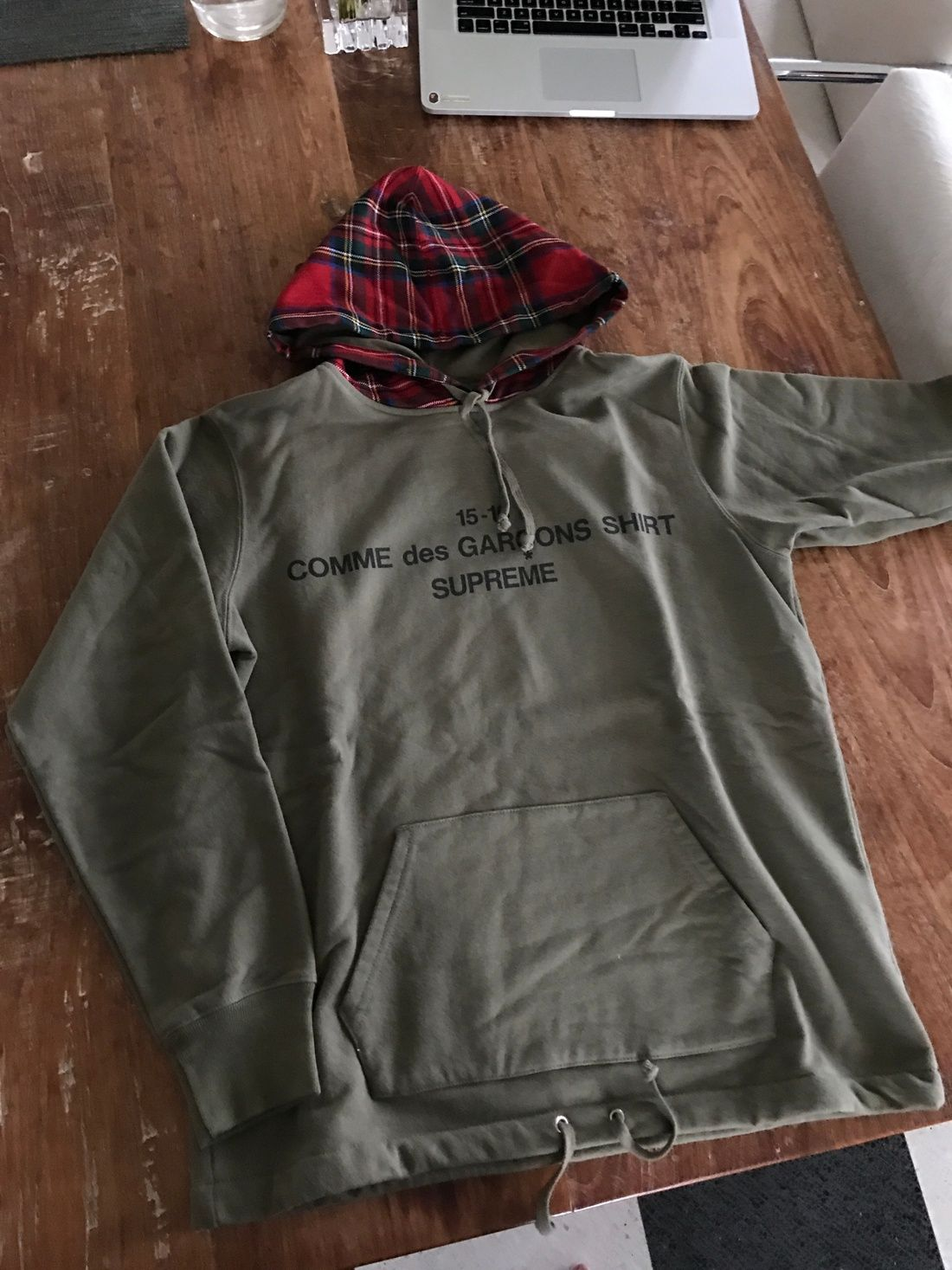 87adfd62e Comme Des Garcons × Supreme Olive Cdg Shirt Hoodie Size S  630 - Grailed