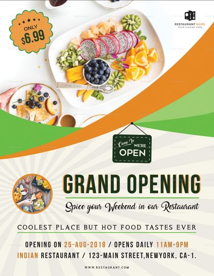 restaurant grand opening flyer template design flyer templates