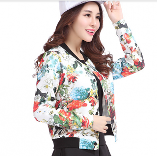 flower baseball jacket for autumn womens long sleeve baseball ...