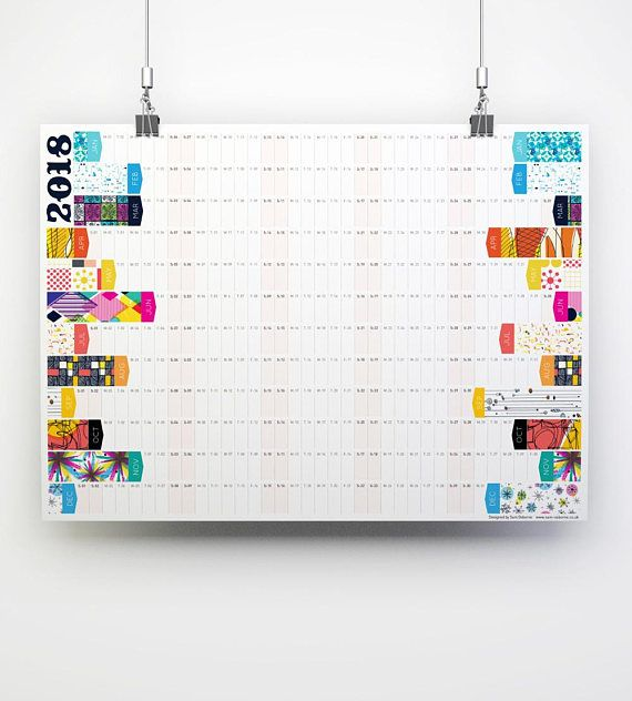 2018 Wall Planner Large Calendar A2 Planner Office Calendars