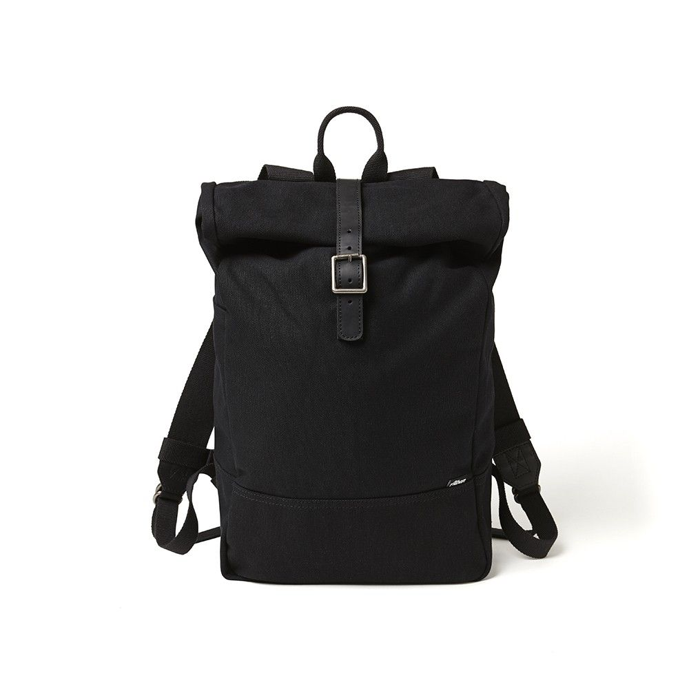 Black canvas roll top backpack by AlbanBikeBags | Alban Bike