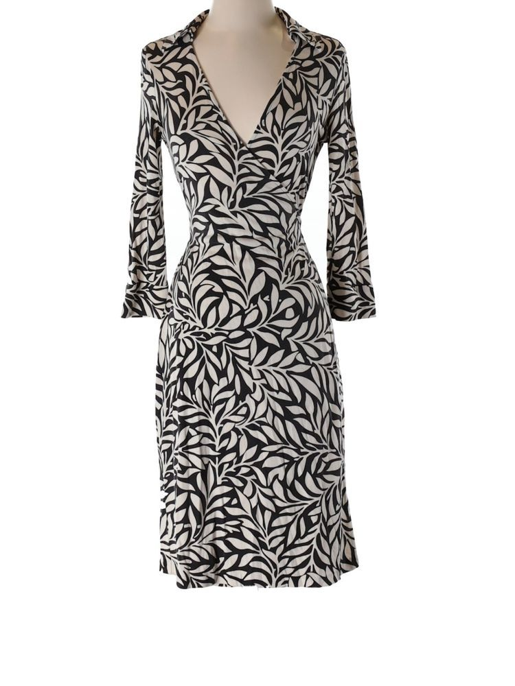 floral wrap front dress - Black Diane Von F kSt0l5