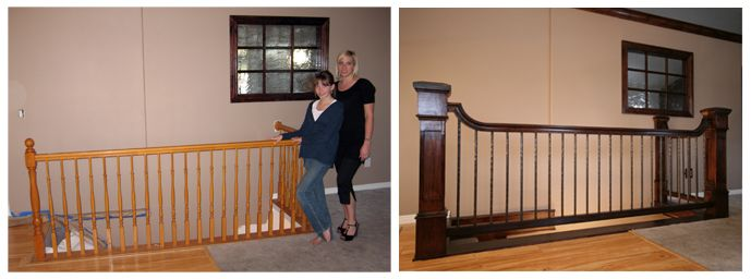 wood staircase railing designs Google Search kitchen Pinterest