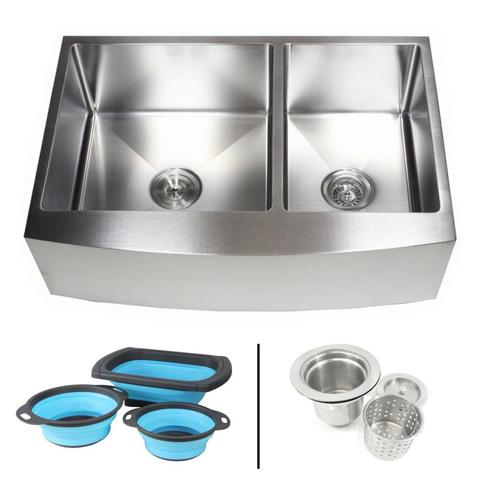 Emoderndecor Farmhouse Apron 16 Gauge Stainless Steel 33 In Curve Front 60 40 Offset Double Bowl Kitchen Sink W Silicone Colanders Efo3321r Ckc Single Bowl Kitchen Sink Double Bowl Kitchen Sink Sink