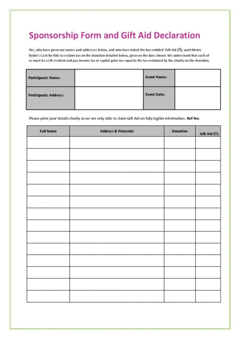 025 Fundraiser Form Template Free Ideas Printable Order In Blank