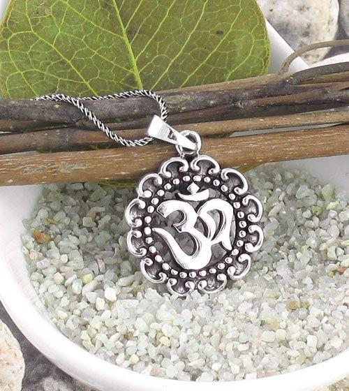 Om Medallion Necklace in Sterling Silver