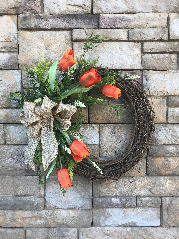 Photo of Tangerine Silk Tulip Grapevine Wreath-Orange Tulip Wreath-Front Door Wreath-Tulip Decor-Orange Floral Decor-Bridal Shower Gift-Gift for Mom