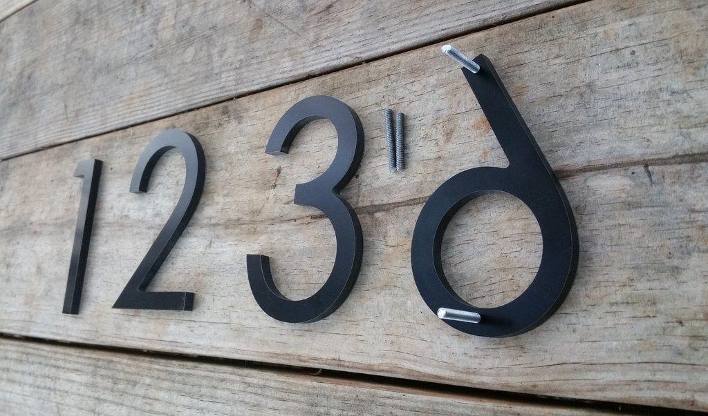 4 Modern House Numbers Black Metal Composite Stud Mounted Address