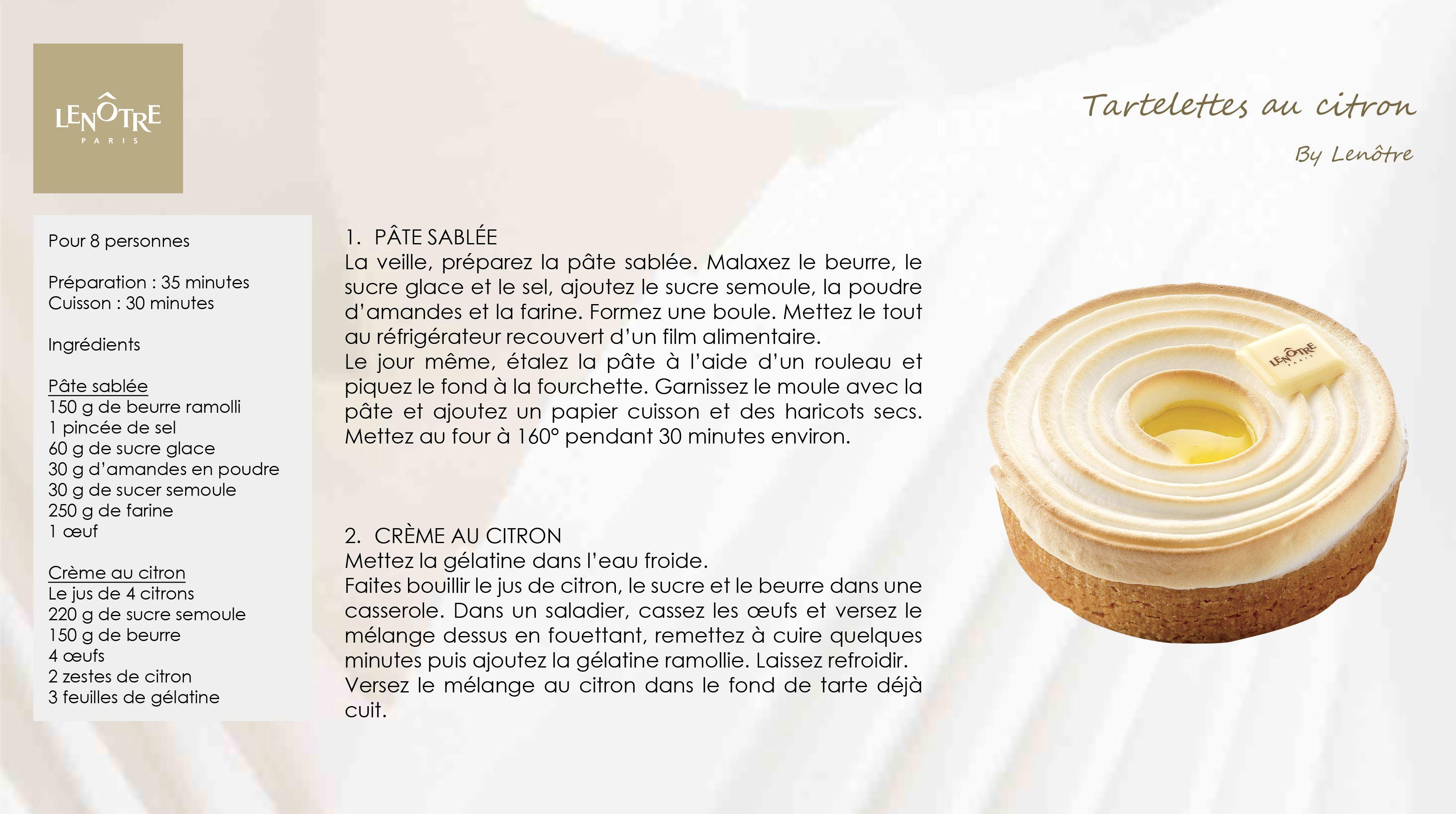 Lenotre Tartelettes Au Citron Cours De Cuisine Lenotre Cuisine