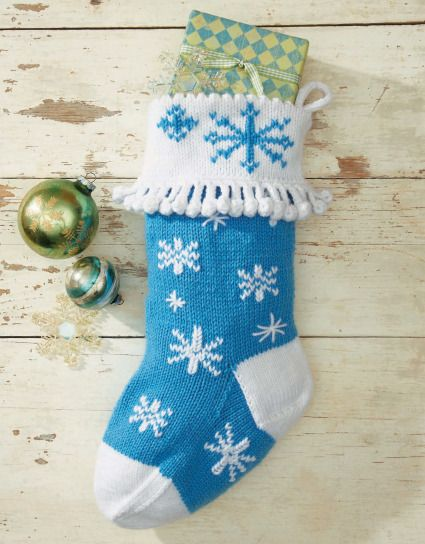 760360c8e4bbdd Snowflake stocking! Christmas knitting pattern from The Stockings Were Knit  eBook.