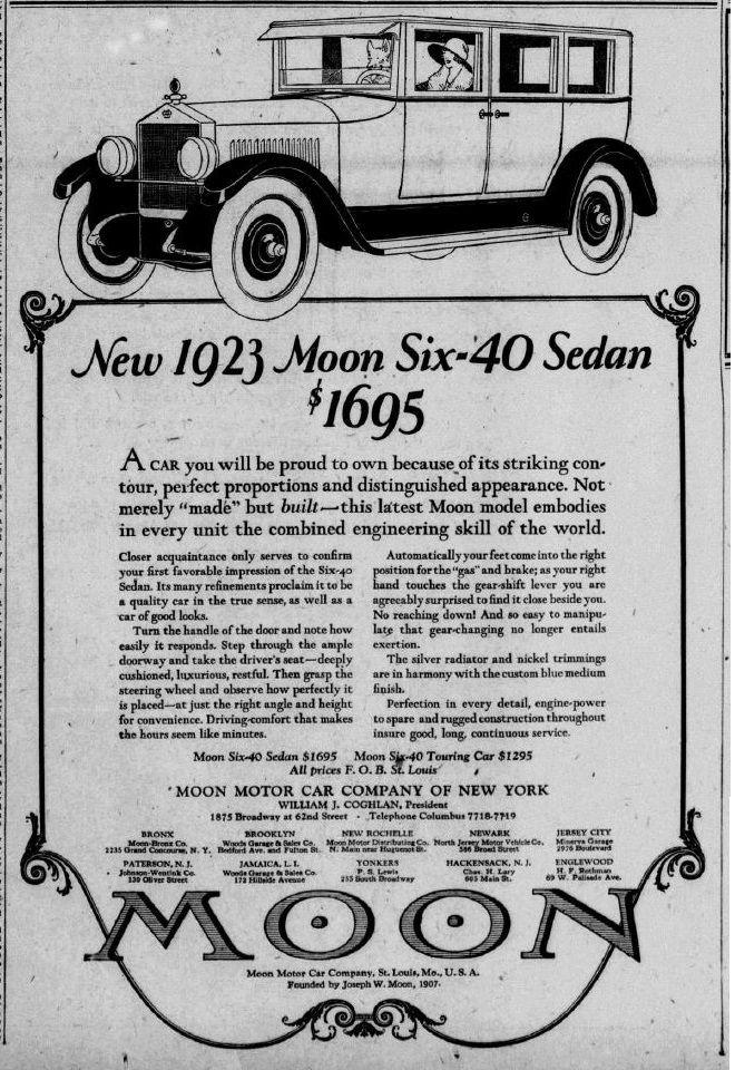 1923 Moon Motor Car Company of New York. | motor way | Pinterest ...