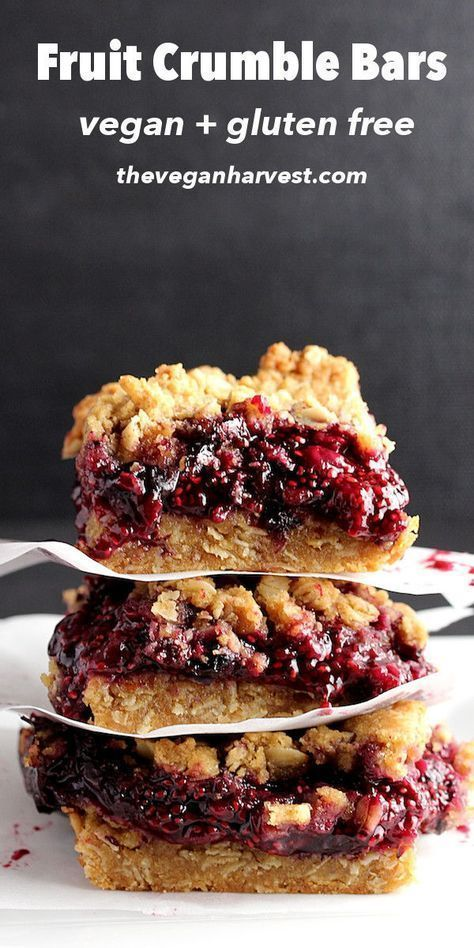 These fruit crumble bars are vegan, gluten-free, and delicious! Perfect for brea…
