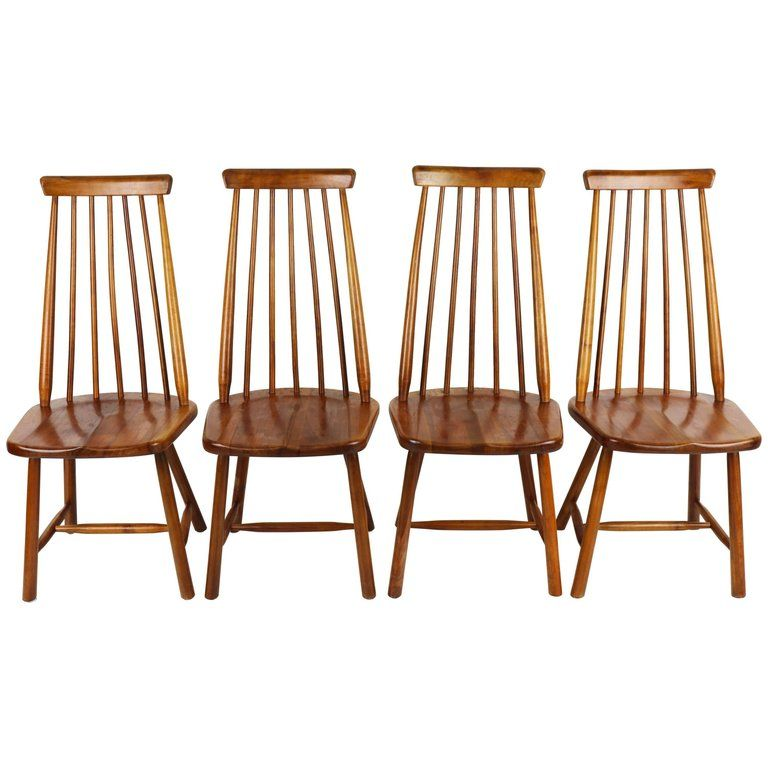 Set Of Four High Spindle Back Chairs By Pastoe In Solid Wood Dutch Design 1960s Chair Dining Room Chairs Solid Wood
