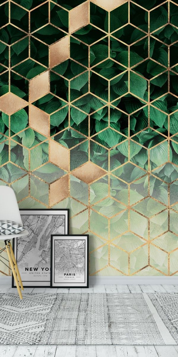 Leaves and cubes wall mural in abstract wallpapers murals wallpaper green also rh pinterest