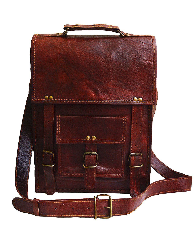 "Men/'s Brown Leather Messenger Bag 15/"" Laptop MacBook Satchel Crossbody Bag"