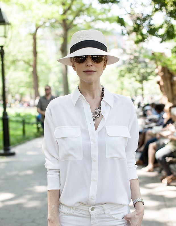 90e81ebac Style Alert. White on white. Top it up with Eric Javits hat.   Top ...