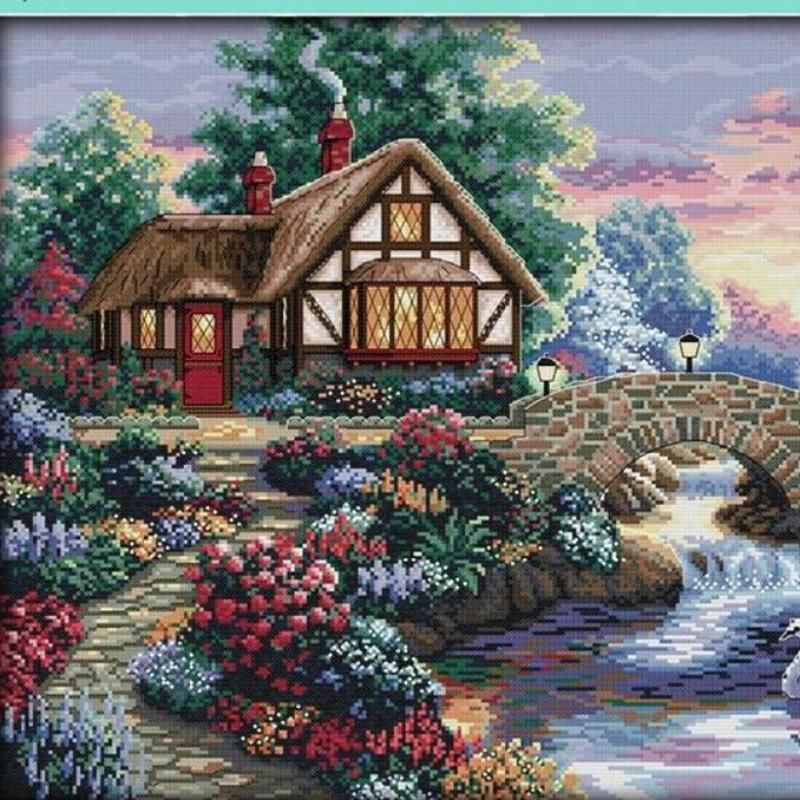 Counted Cross Stitch Kits Embroidery Landscape Beautiful Scenery river Craft set