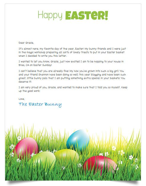 Free Personalized Letter From The Easter Bunny  Holidays
