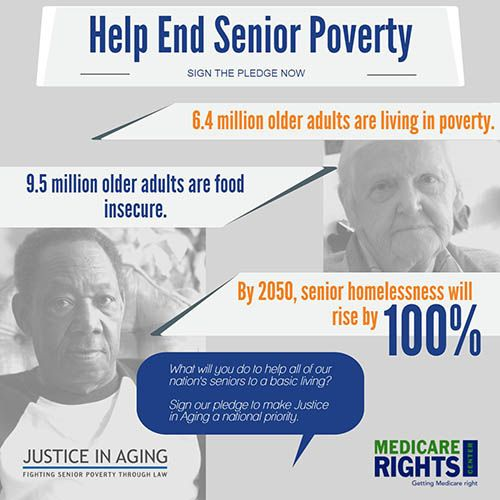 """Over 6 million older Americans are living in poverty. As income inequality increases & 10K people turn 65 every day, the # of poor srs is growing exponentially. People in our communities are suffering. Mothers, fathers, grandmothers, grandfathers, aunts & uncles are struggling to buy food, keep the heat on, afford meds & visit their doctors."" // I live with my younger daughter.  It's the only way I can afford to live."