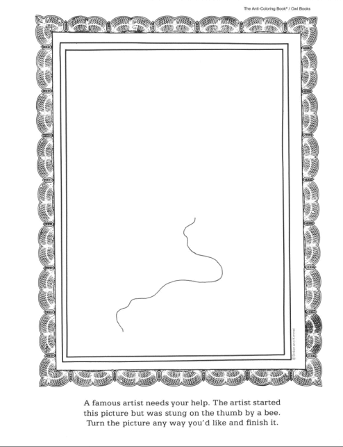 Here Are Some Printable Pages From The First Anti Coloring Book Coloring Books Printables Social Skills