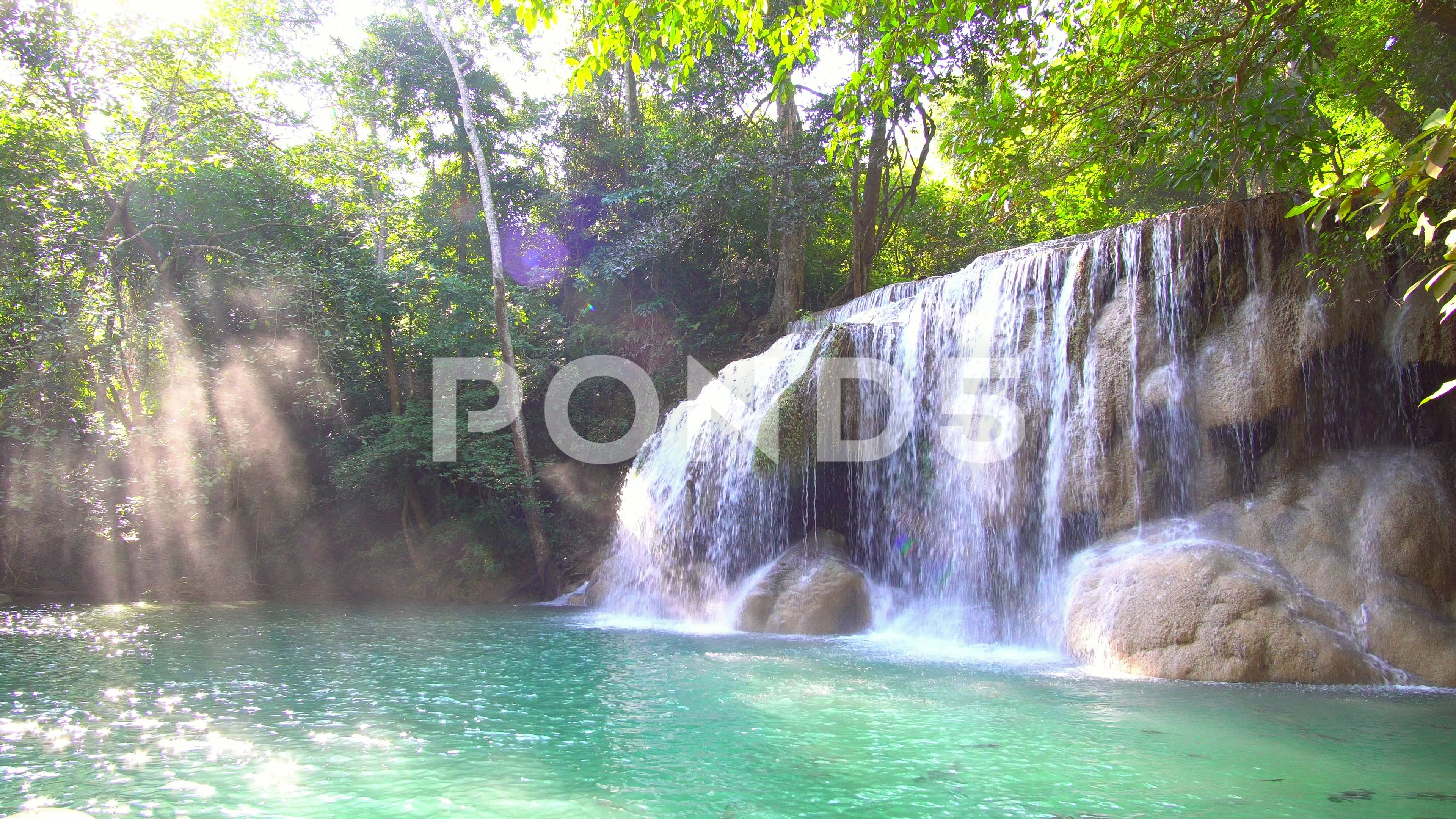Waterfall And Beautiful Tropical Nature With Sun Light Shining Through Tree Stock Footage Ad Nature Sun Tropical Waterfall Waterfall Nature Tropical