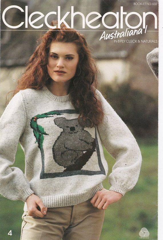 Knitting Patterns Sweater Australiana Kangaroo Koala