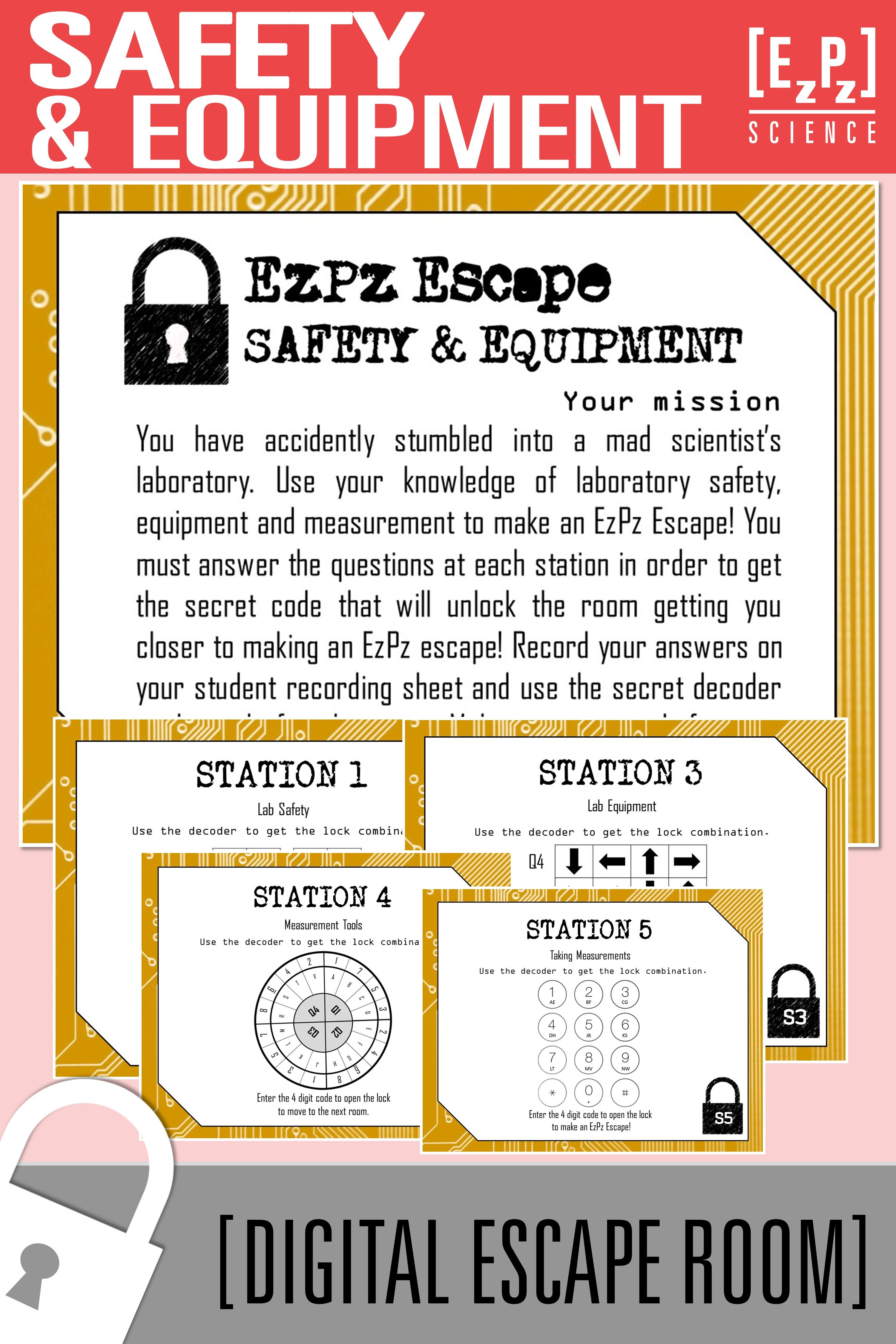 Safety And Equipment Science Escape Room Digital Breakout Science Lab Safety Lab Safety Science Process Skills