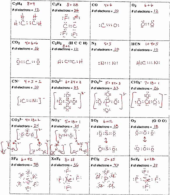 Lewis Structure Worksheets Answers Enlace Quimico