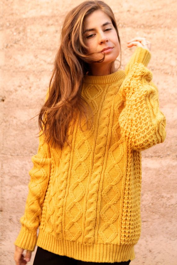 4f44dbb16d3 MUSTARD yellow cable knit sweater SLOUCHY oversize by ZiaVintage ...
