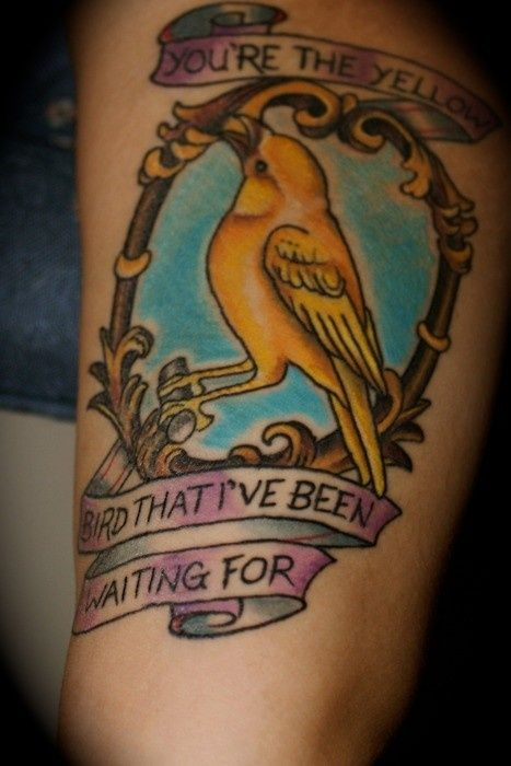 By Katie Davis Salvation Tattoo Gallery Richmond Va Tattoo Favorites Yellow Bird Tattoo Bright Eyes Tattoo Bird Tattoo Wrist