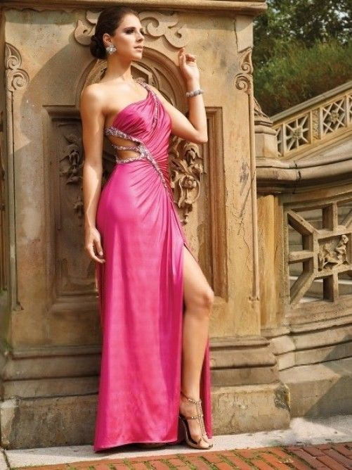 Sleeveless A-line One Shoulder Floor-length Elastic Woven Satin Affordable Formal Dress with Beading